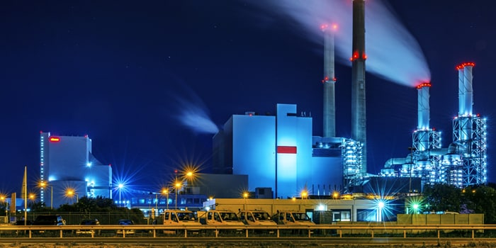 Night photo of electrical generation plant